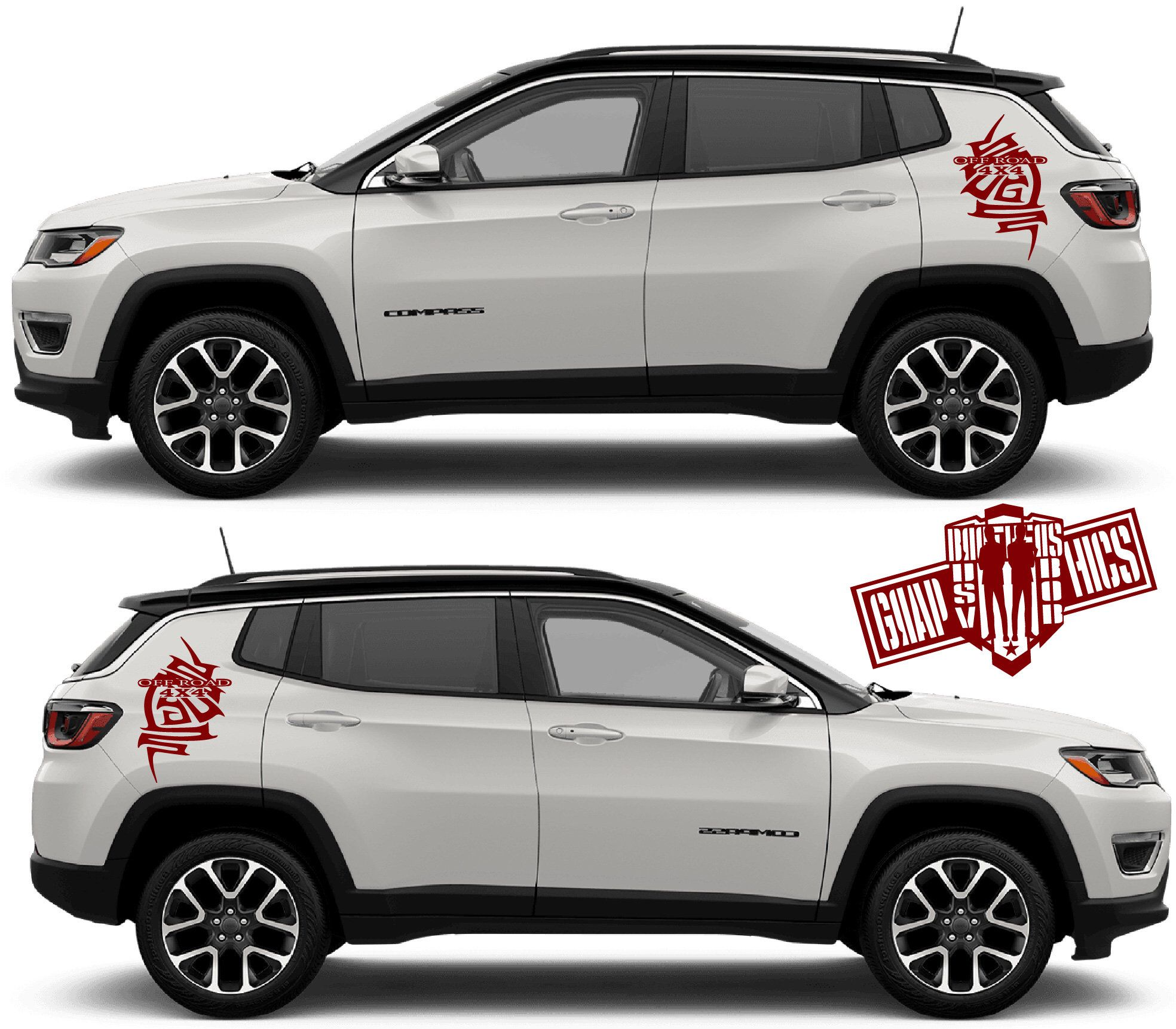 Set Of Racing Side Stripes Decal Sticker Graphic Compatible With Jeep Compass