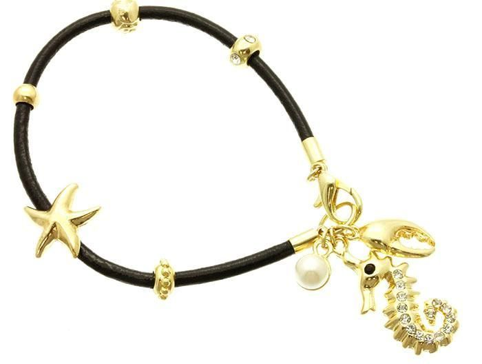 Black Cord Gold Pearl Nautical Sea Shell Starfish Seahorse Charm Bracelet USA #Mirabella #SlideSlider