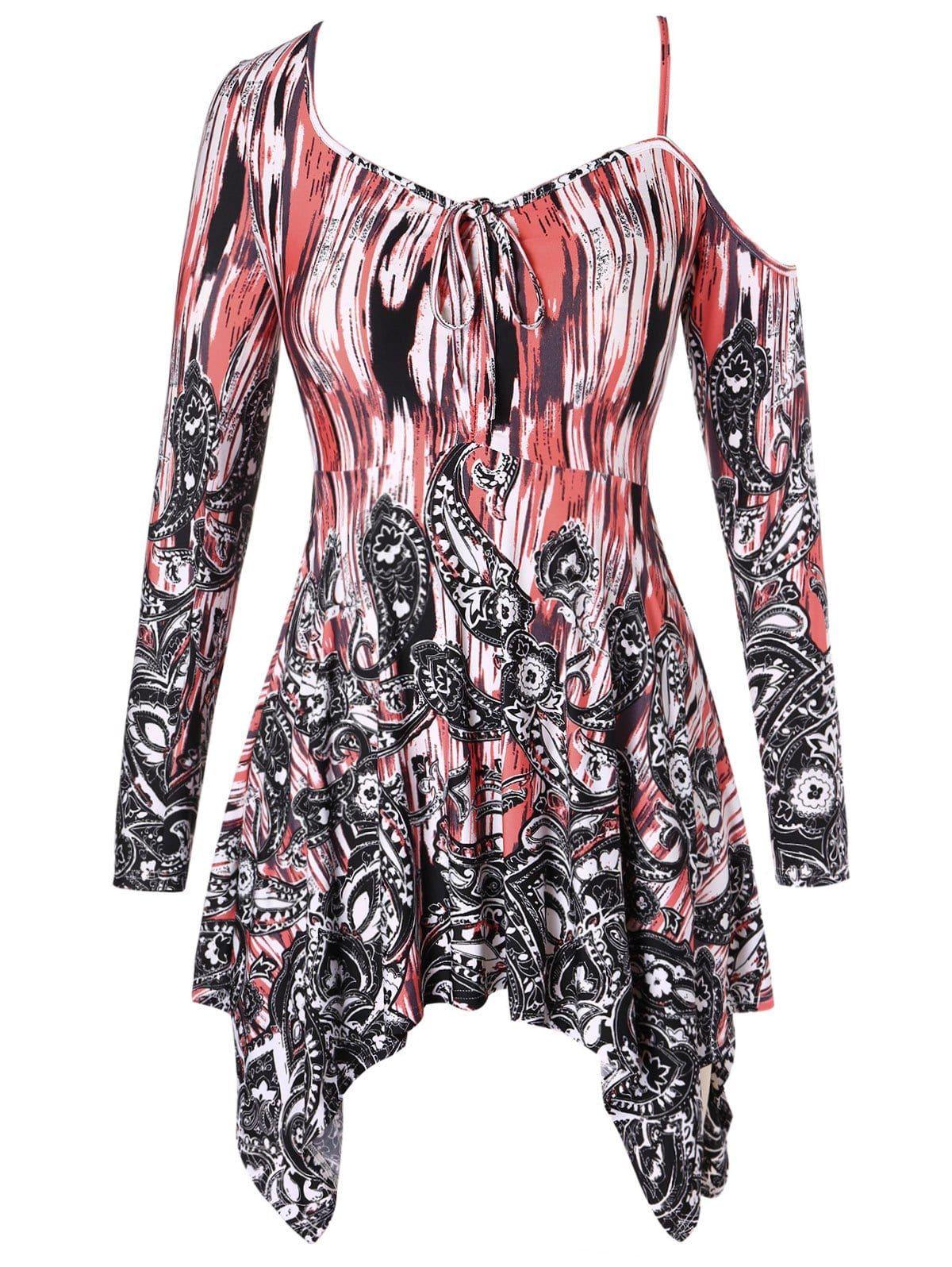 8fa9cf8bd8d Paisley Print Plus Size Skew Neck T-shirt Floral Blouse