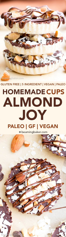 Homemade Almond Joy Cups (Paleo, V, GF): a 5-ingredient recipe for rich, nutty Almond Joy cups layered in velvety chocolate. #Paleo #Vegan #GlutenFree #5Ingredient | BeamingBaker.com