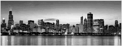 B & W Framed Chicago Skyline