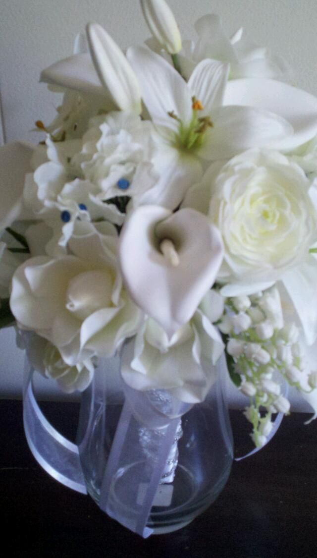 White Calla Lily And Gardenia Brides Bouquet Faux Flower