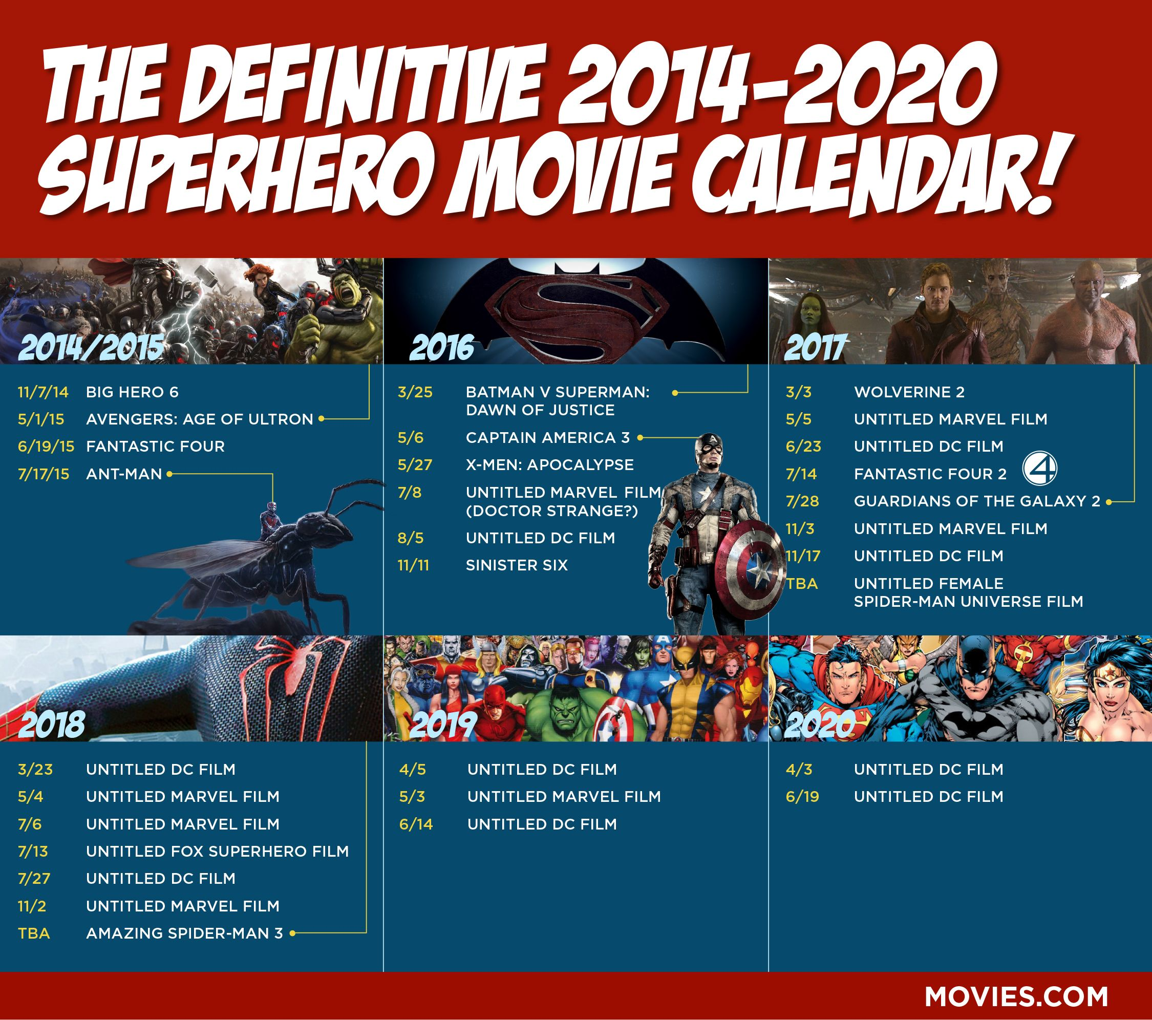 2014 & 2020 Calendar Here's Your Definitive 2014 2020 Superhero Movie Calendar | Movie