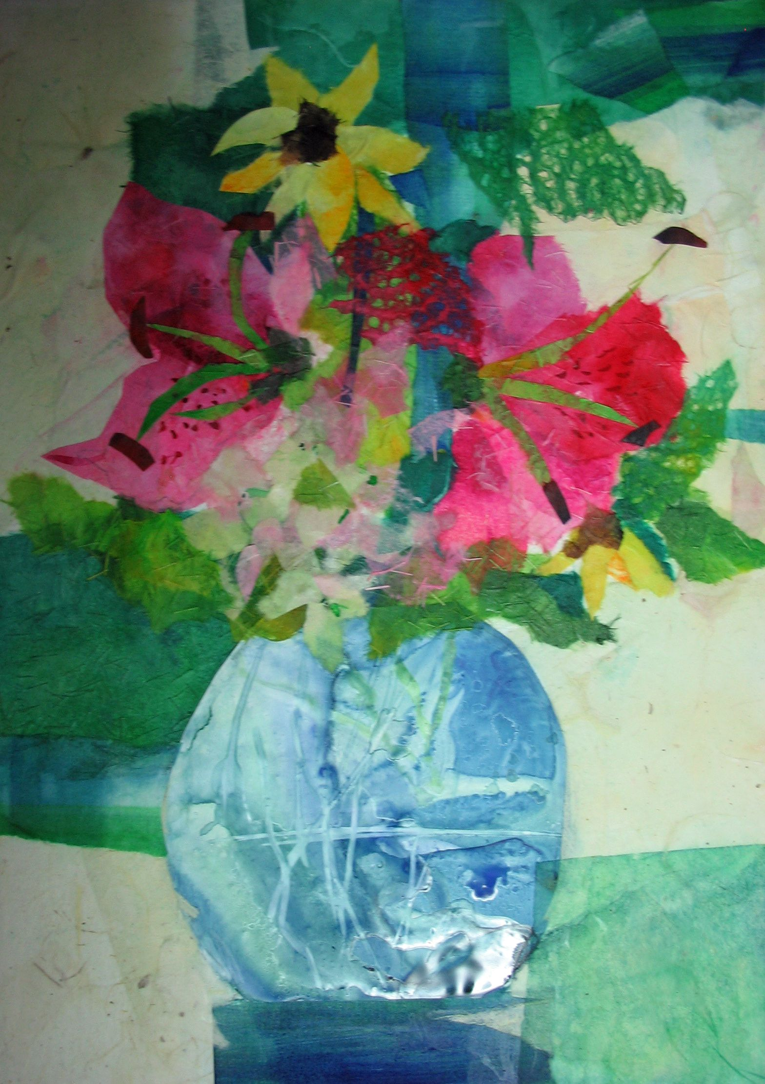 156bdfae66 What I love about this stained paper collage is the vase. The vase is Yupo  paper which makes the water in the vase very real looking.