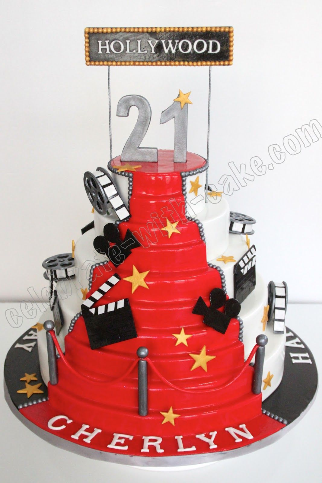 Hollywood Birthday Cake Love It Ninas Hollywood Party Pinterest