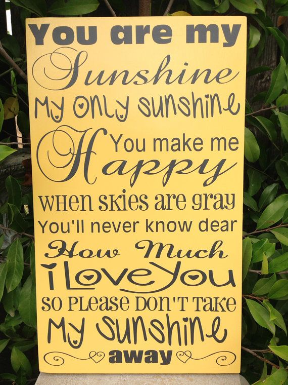 You Are My Sunshine My Only Sunshine Yellow and Gray Nursery Wood ...