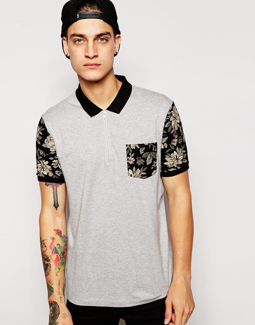 Polo shirt by ASOS Soft-touch jersey Polo collar Zip fastening to neck  Contrast printed pocket and sleeves Regular fit - true to size Machine wash  Cotton ...