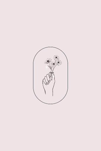 Botanical hands illustration, line art, sketch logo!