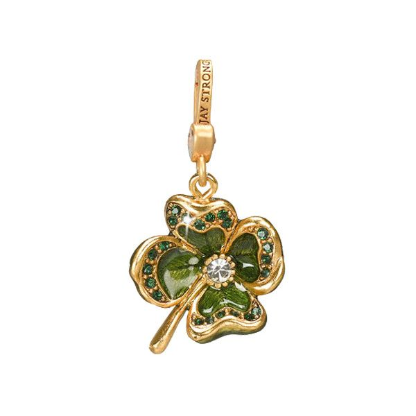 Jay Strongwater Dhanya Lucky Charm (815 SEK) ❤ liked on Polyvore featuring jewelry, pendants, gold, swarovski crystal charms, special occasion jewelry, handcrafted swarovski crystal jewelry, evening jewelry and four leaf clover charm