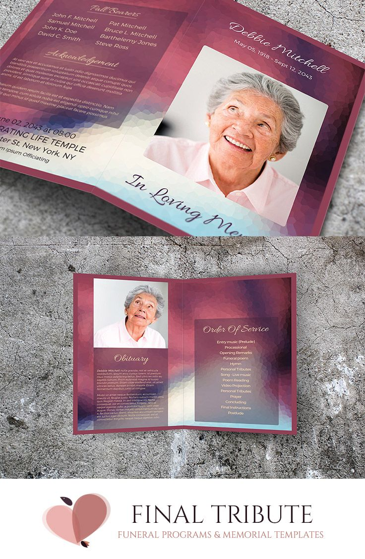 Purple Rose  A Lovely Memorial Card Template  Funeral Program