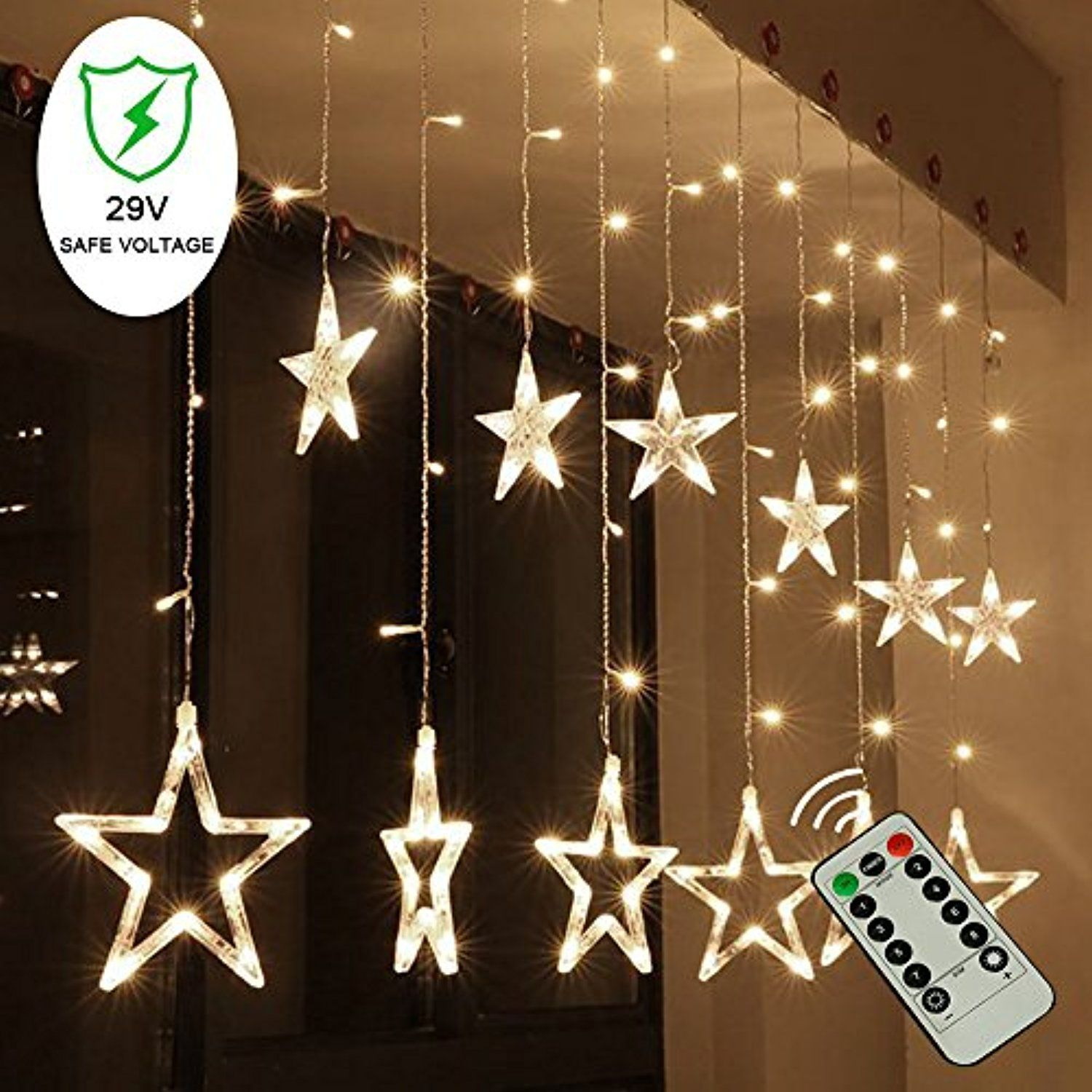 Buenavo Led Star Curtain String Lights With Remote Control 82Ft138Led