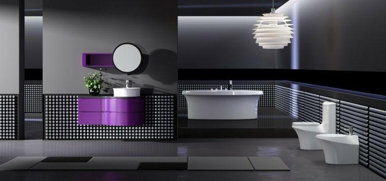 Baños originales en negro y en gris   Interiores para baños ...
