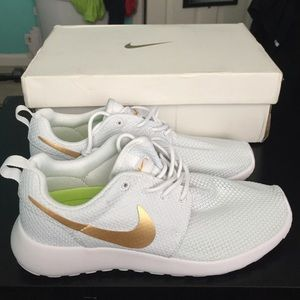 low priced e8c12 f12dc 50% off Nike Shoes - Nike Roshe Run white gold in stock from .