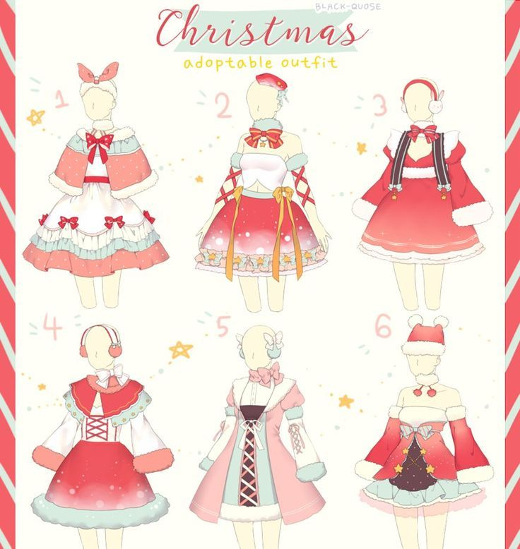 Closed Christmas Outfit Adopt 27 By Black Quose Deviantart Com On Deviantart Fashion Design Drawings Anime Outfits Drawing Anime Clothes