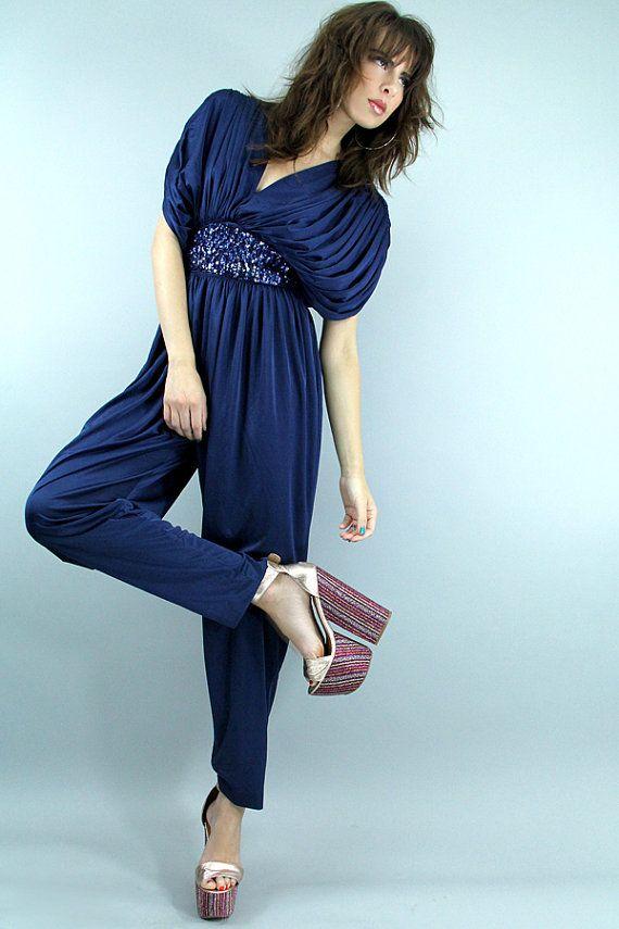 Vintage 70s DISCO GRECIAN Jumpsuit Blue Sequin By TatiTatiVintage 14800