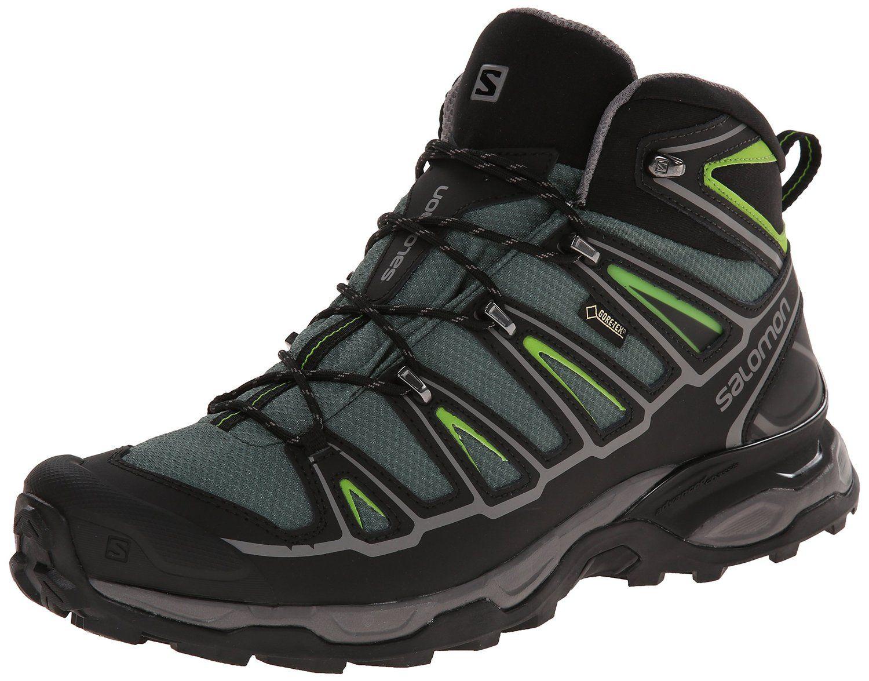 Salomon Men's X Ultra Mid 2 GTX Multifunctional Hiking Boot, Beetle Green/ Black/Spring Green, M US ** Visit the image link more details.