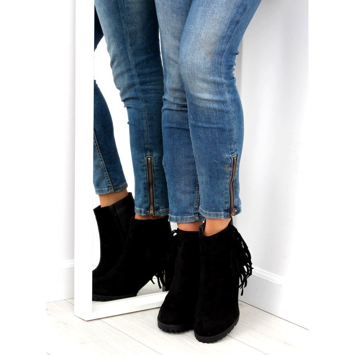 Botki Damskie Obuwiedamskie Botki Licowo Zamszowe Z Fredzlami Czarne Obuwie Damskie Black Jeans Fashion Black
