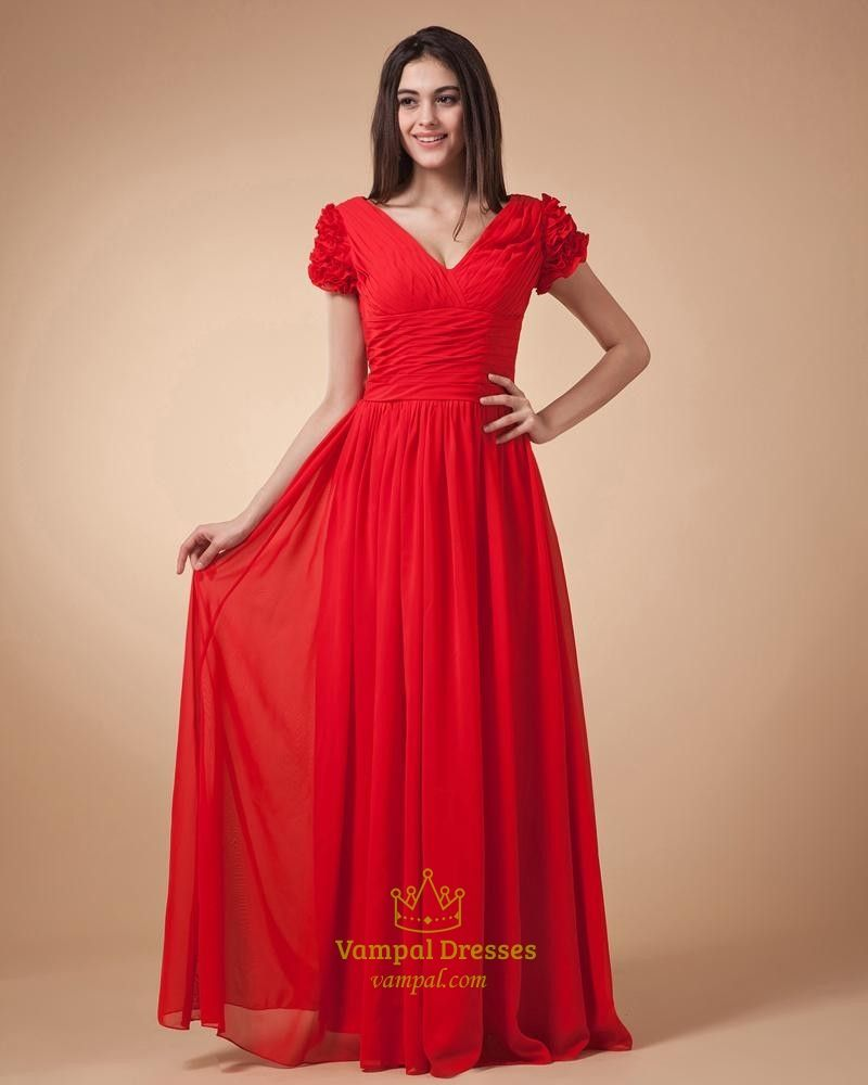 Vampal offers high quality red cap sleeve dressred prom dresses