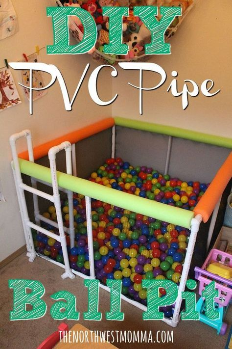 Diy Ball Pit Made From Pvc Pipes Cable Ties Cargo Netting And