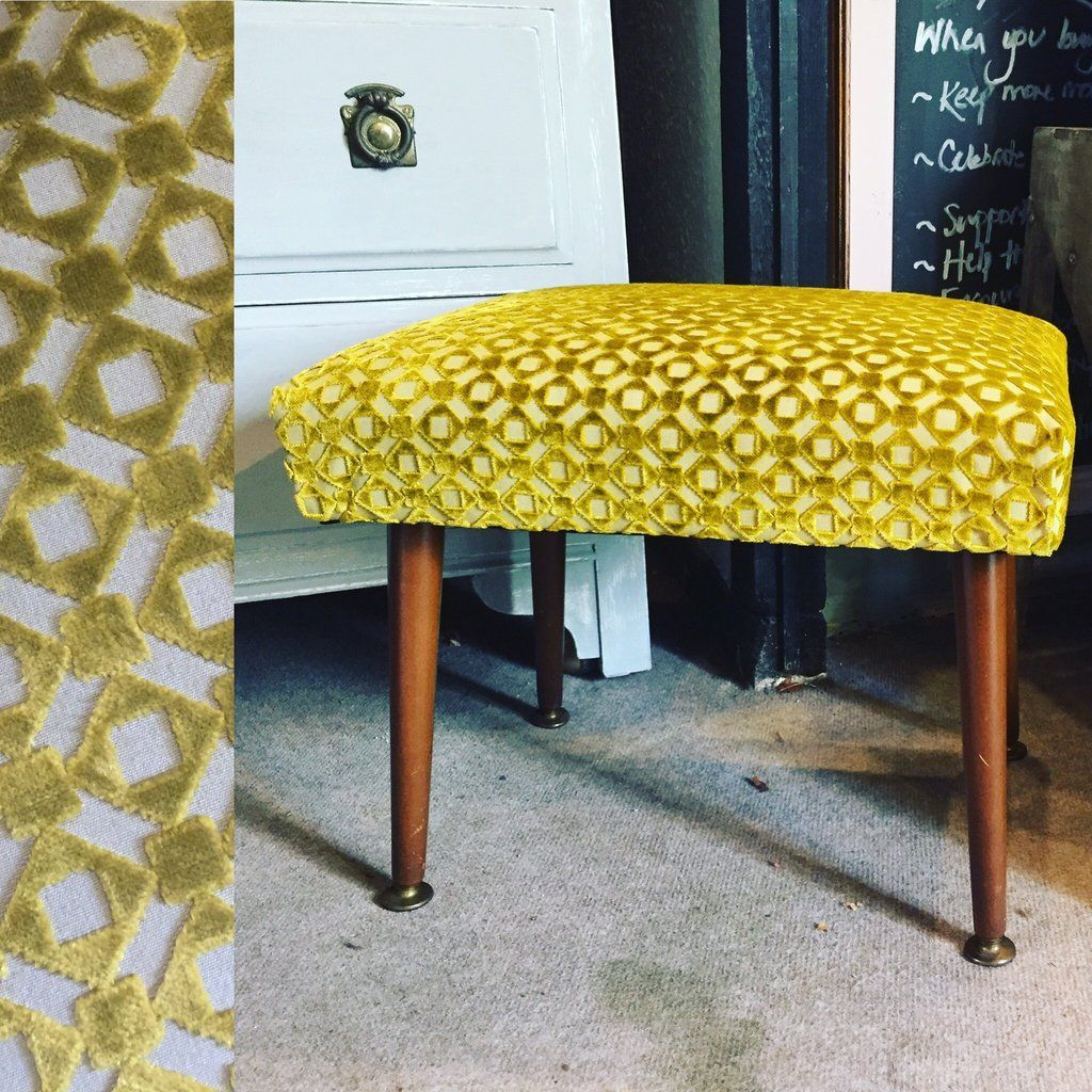 Olive the upcycled footstool upcycle footstool stool green retro vintage upcycledhome interior interiordesign funky olive andover hampshire