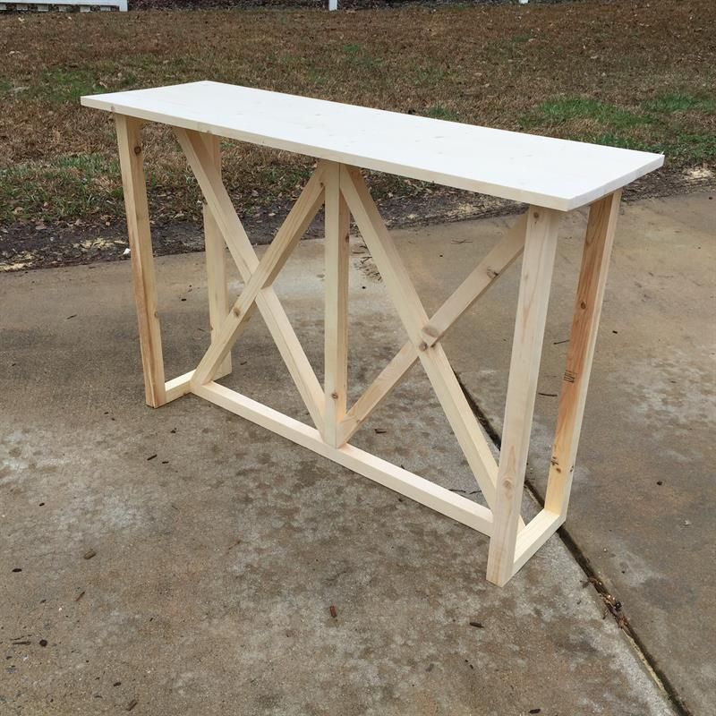 Diy Double X Console Table Made With 1x6s And 2x2s Diy Entryway Table 2x2 Wood Diy Furniture Projects