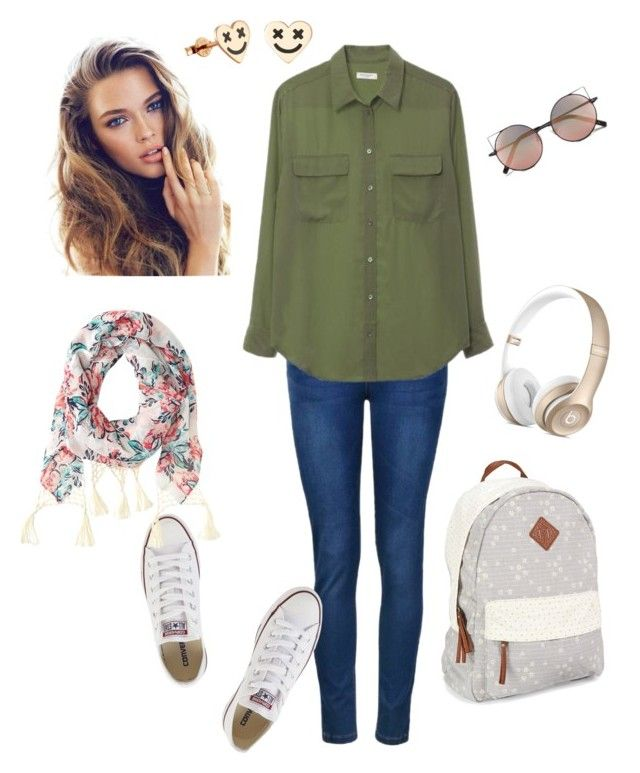 """""""White Converse"""" by ioda-gia ❤ liked on Polyvore featuring Ally Fashion, Equipment, Converse, Aéropostale and Linda Farrow"""