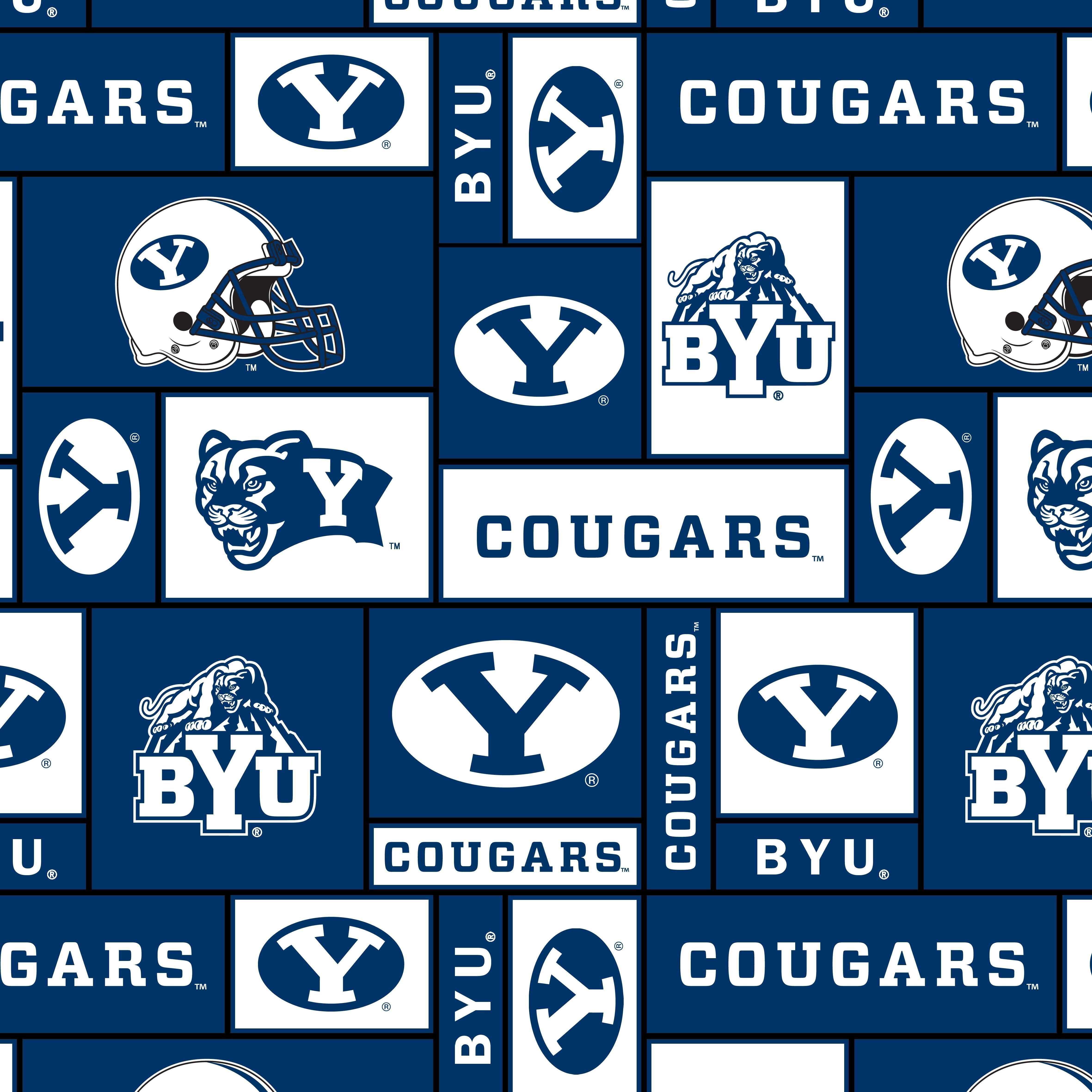 Brigham Young University Cougars Fleece Fabric Block Brigham Young University Byu Fleece Fabric