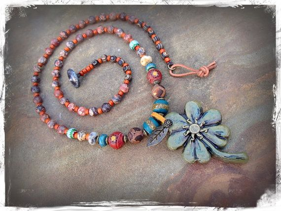 LUCKY CLOVER necklace Good Luck necklace artisan FOUR Leaf Clover necklace gemstone long necklace Earthy necklace Earth jewelry GPyoga