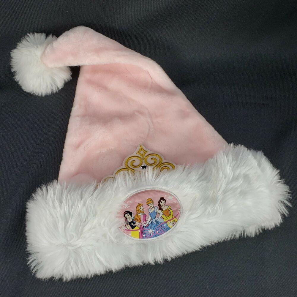Disney Princess Belle Cinderella Beauty Christmas Holiday Santa  Hat Pink NWT