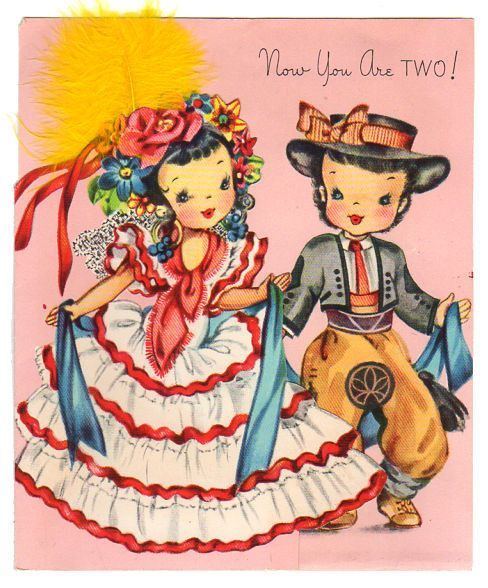 Vintage Two Year Old Birthday Card Spanish Children Girl In Ruffled