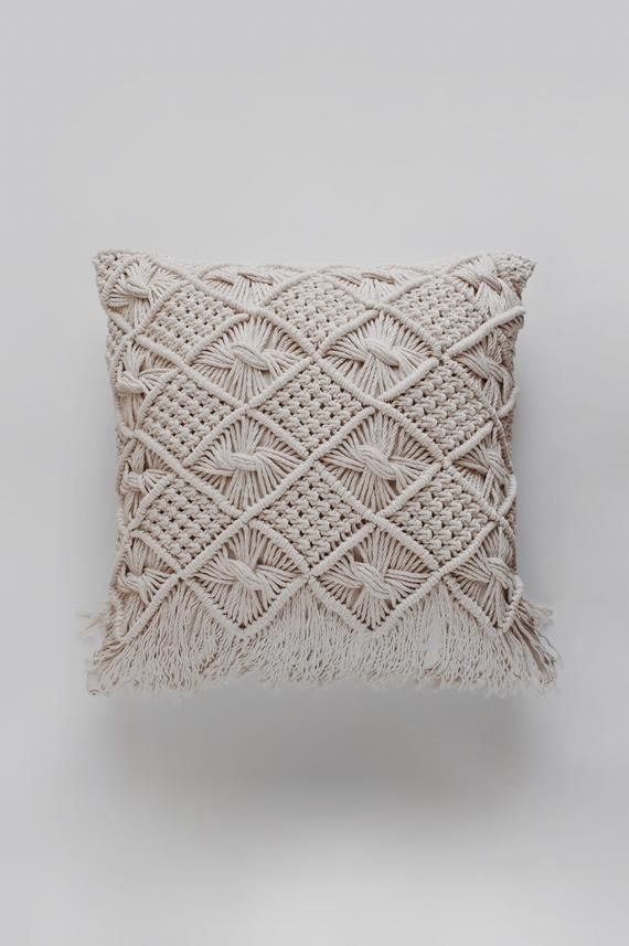 Macrame Pillow / Throw Pillow / Decorative Pillow / Modern Macrame / Fiber Art / Bohemian Decor / Macrame Tapestry / Macrame Pillow Case