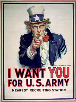 """In WW2 USA, this """"Uncle Tom"""" poster was used to motivate all American men and women to take part in the war effort."""