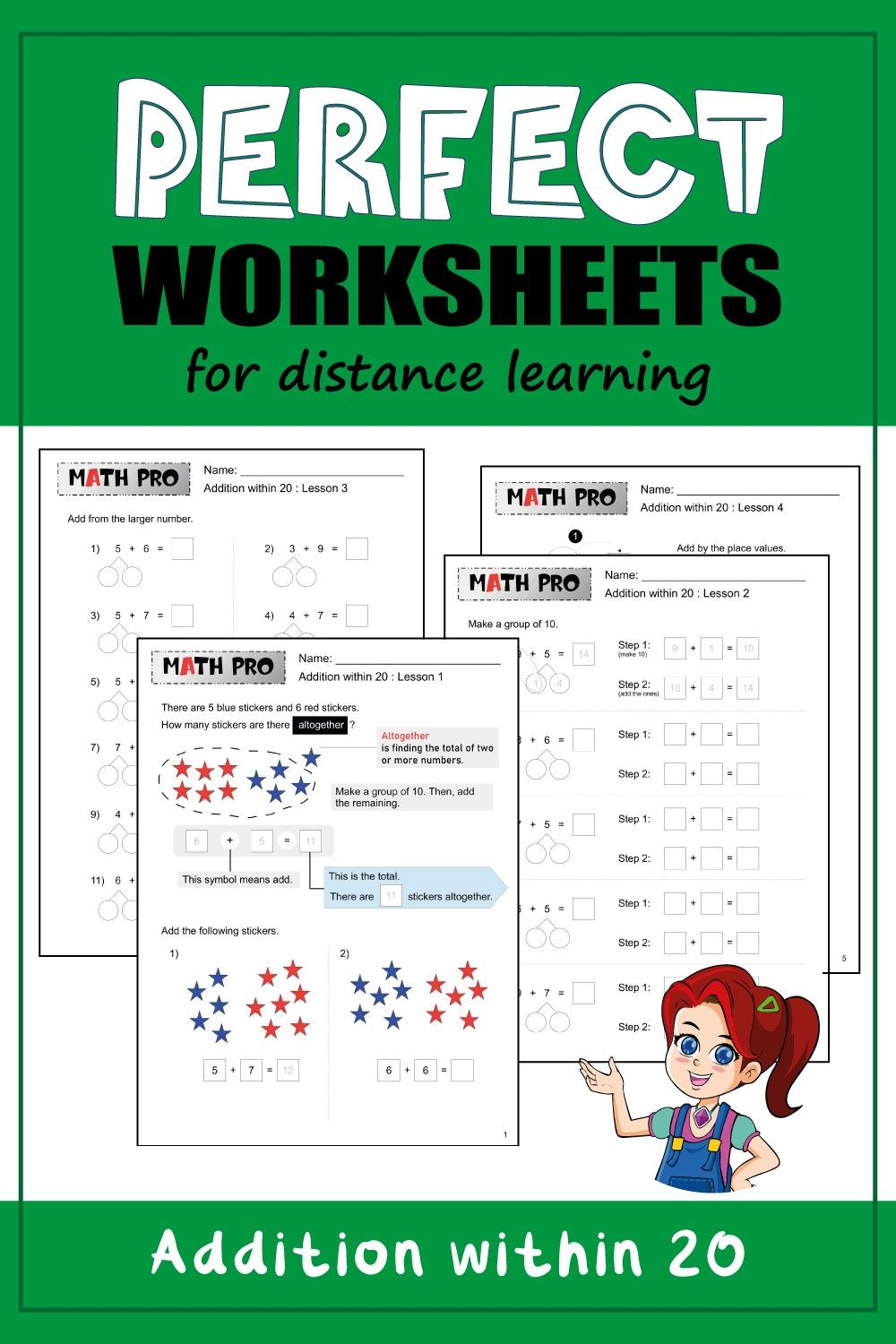 Addition Within 20 Worksheets Distance Learning Math Learning Math Worksheets Addition within with pictures