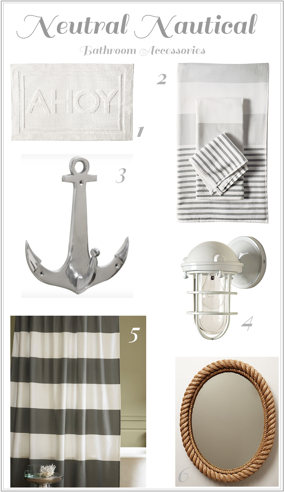 Neutral Nautical Bathroom Accessories | Nautical | Pinterest ...