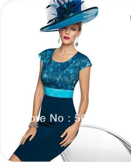 2014 Fashion Mother of the Bride Dresses Short Sleeve Sheath Satin ...