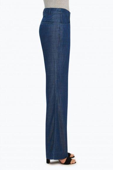 Foxcroft Solid Tencel Wide Leg Trouser