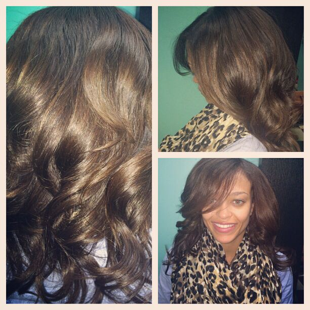 2nd install of the hair custom colored brazilian straight