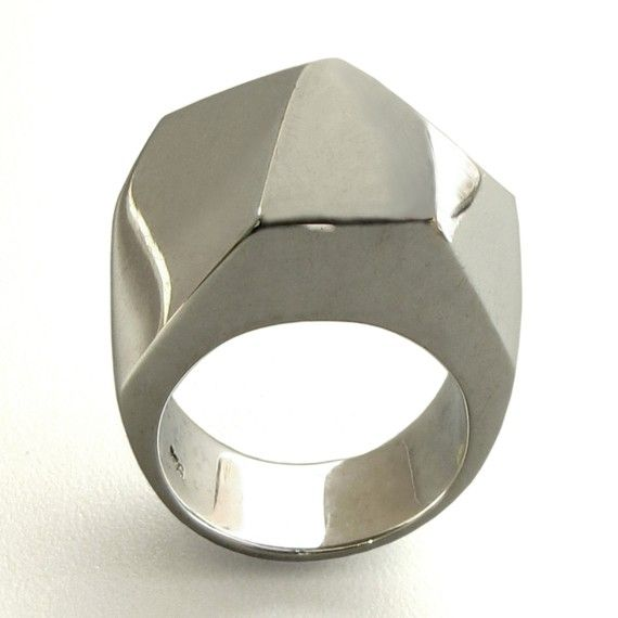 faceted sterling silver ring