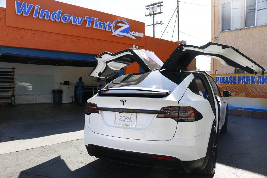 White Tesla Model X Chrome Delete Window Tint Z Los Angeles