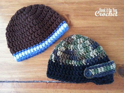 Crochet Baby Boy Beanies : free patterns