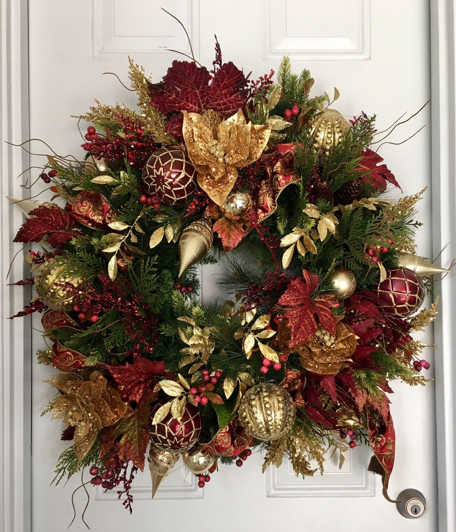 28 30 Christmas Garland Wreath Filled With Rich Burgundy And Gold