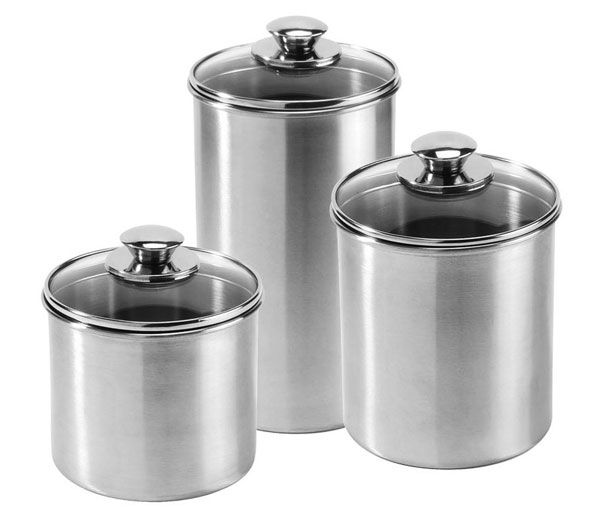 Canister Sets | Amco Stainless Steel Canister Set, 3 Piece |  Cutleryandmore.com