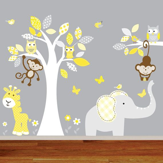 Childrens Yellow Jungle Wall Decal Nursery Tree Owl Bird Elephant Giraffe Teal Grey Kids Playroom