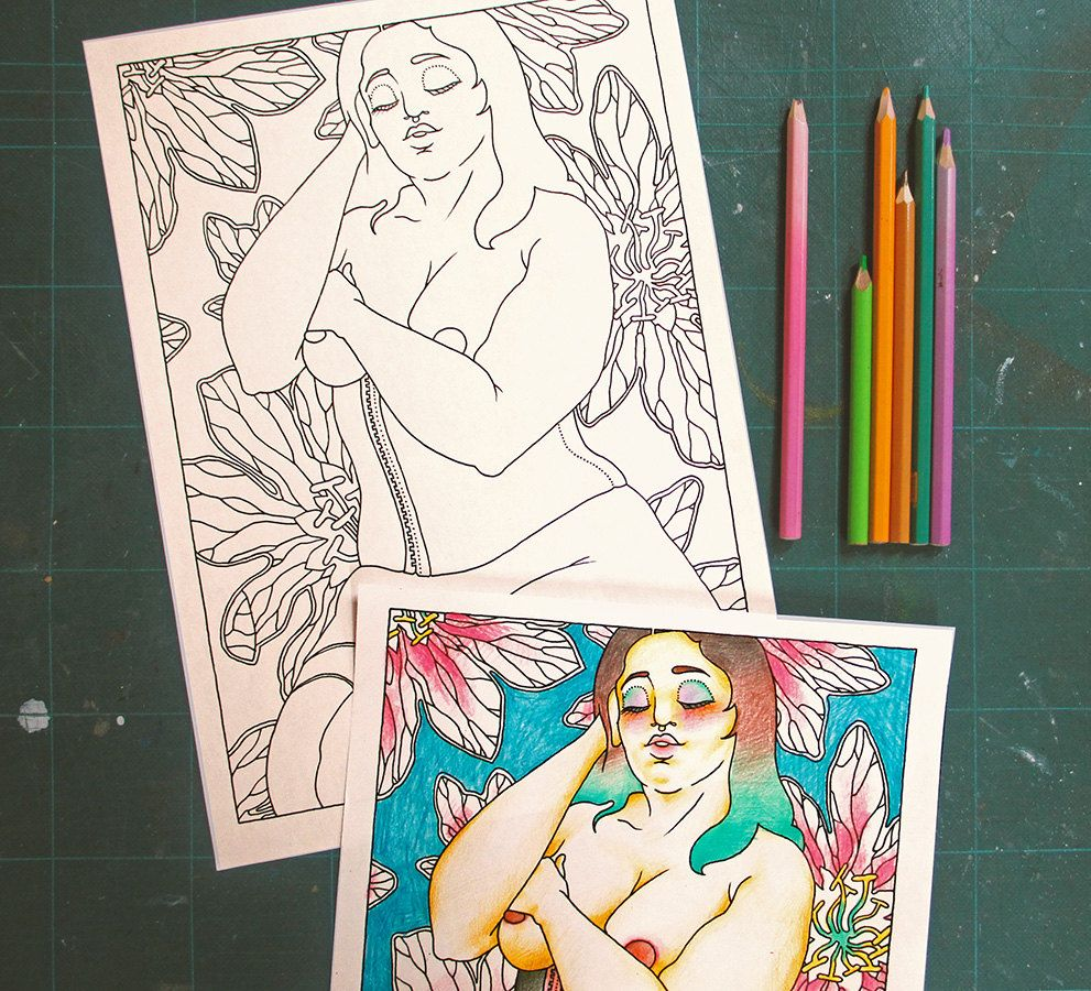 The coloring book of positivity - Adults Coloring Book Les Foufettes Claudette Body Positive Pin Up Colouring