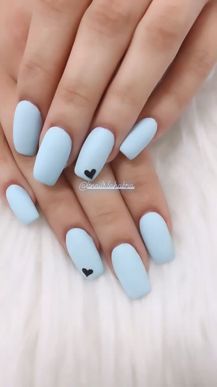 Blue Matte Thinking Of Presenting All By Yourself A At Home Manicure Although In Need Of A F In 2020 Short Acrylic Nails Designs Short Acrylic Nails Blue Matte Nails
