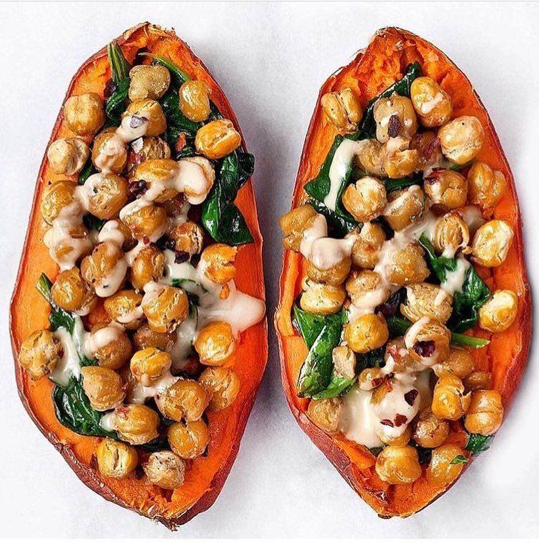 "@vegangotgame on Instagram: ""Chickpea Spinach Stuffed Sweet Potatoes � �: @lastingredient via @vegangotgame #vegangotgame Recipe: Serves 4 4 medium sweet potatoes 1-15…"""