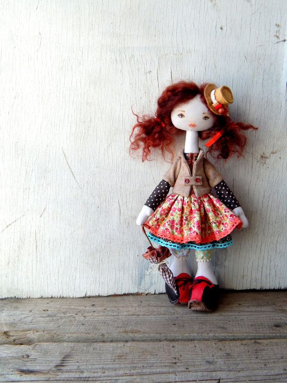 Fabric red-haired doll in hat. Art cloth doll sculpture ...