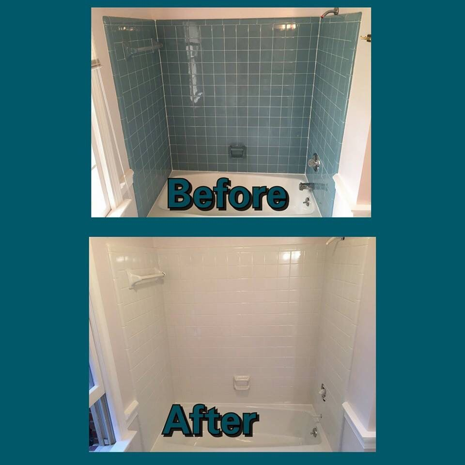 At This House We Reglazed The Tub And The 3 Walls Of Tile Surrounding The Bathtub Please Call Bathroom Makeover Bathroom Repair Painting Bathroom Tiles