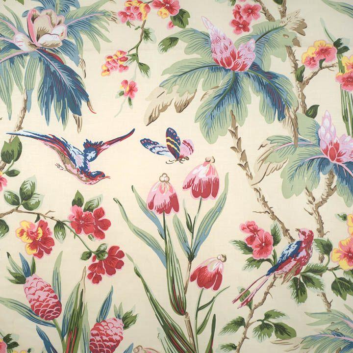 Printed Chintz multi on cream decorator fabric by Scalamandre. Item 6868M-001. Save on ...