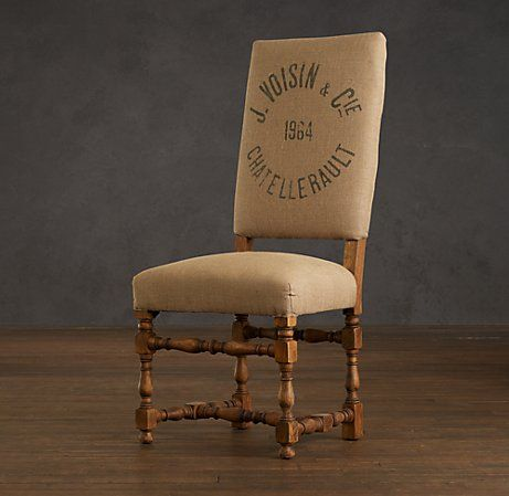 1890 English Baroque Side Chair Printed Burlap In 2020